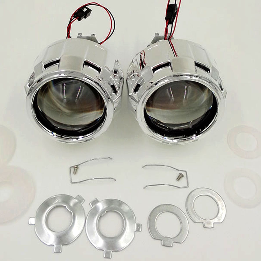 Free Shipping!!Hot Sell 2.5Inch HID Bi-xenon projector Lens H1 with shrouds and ccfl angel eyes with H4/H7 base ea