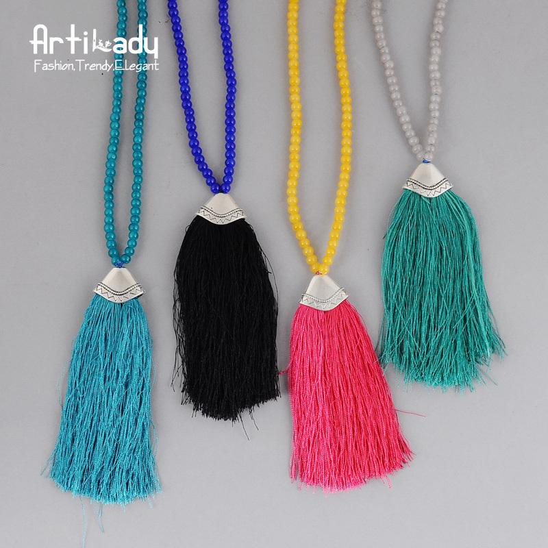 Artilady long beaded chain pendant necklace multicolor ...