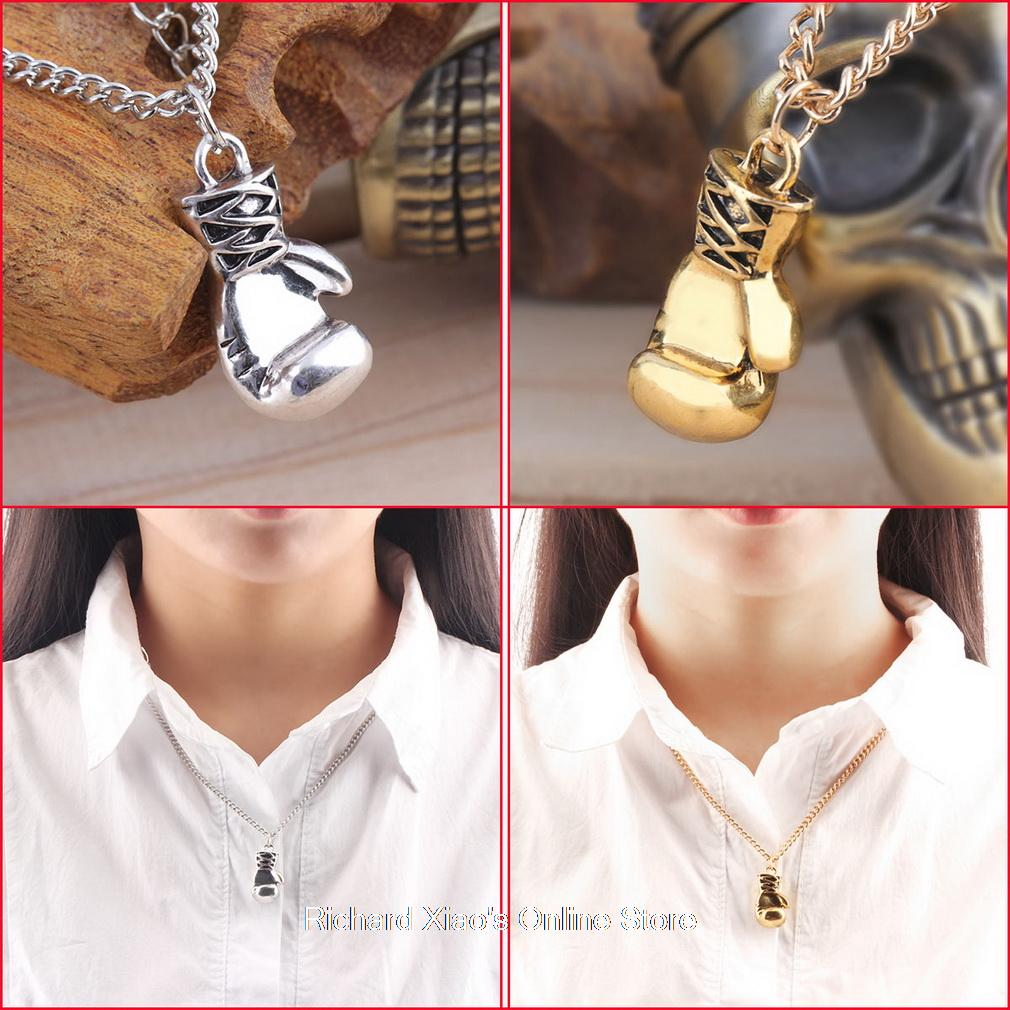 Gold/Silver Fashion Lovely Mini Boxing Glove Necklace Boxing match Jewelry Stainless Steel Cool Pendant for Men Boys Gift