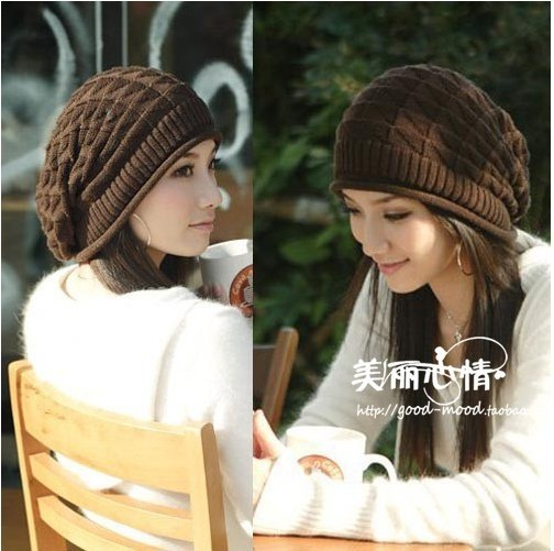 Free shipping 2013 Knitted hat autumn and winter pleated knitted hat ear thermal pullover triangle decorative pattern