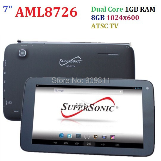 Promotion!! 7inch Dual Core AML8726 Tablet PC Digital TV 8GB Rom 1GB RAM sale cheap tablet pc SuperSonic SC-77TV AML8726(China (Mainland))