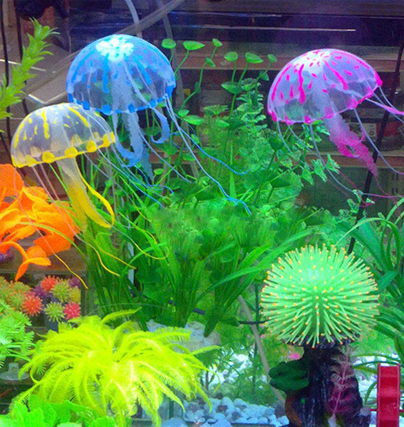 New Tank Ornament Swim Glowing Effect Jellyfish Jar Decoration For Aquarium Fish(China (Mainland))