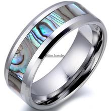 8mm Comfort Fit Top Quality Tungsten Carbide Ring with Abalone Inlay Men's Wedding Band Male Engagement Ring(China (Mainland))