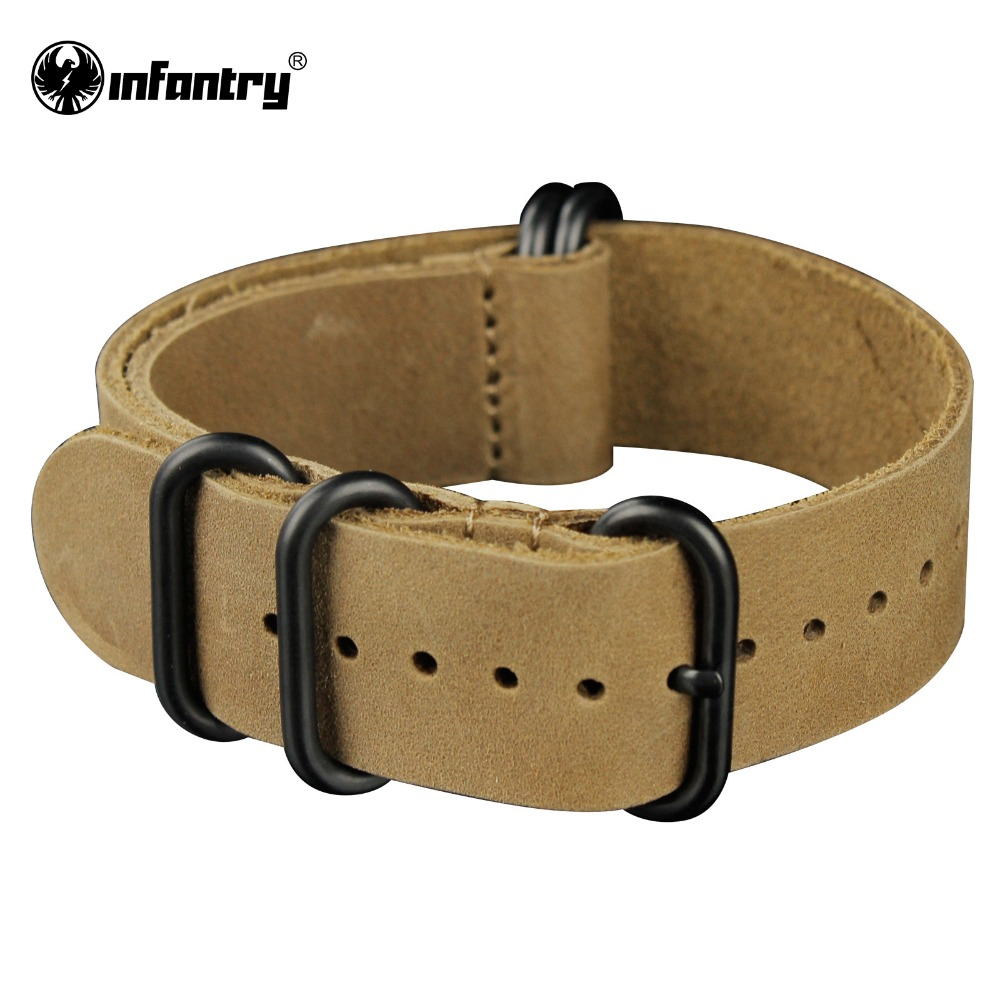 Infantry 22mm Genuine Leather Bracelets Outdoor Brown Watch Straps Bands Fashion Design Soft Durable(Hong Kong)