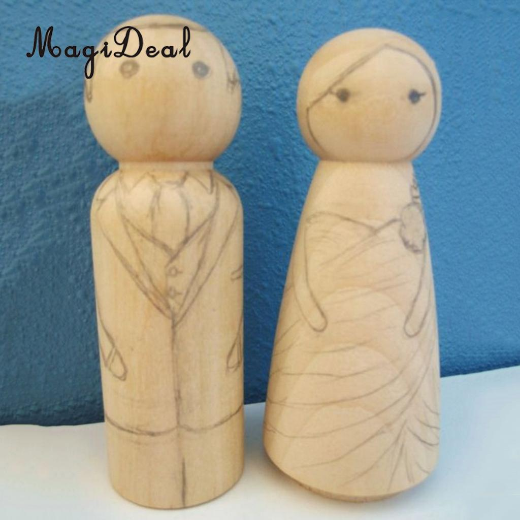 40 Pieces Blank Wooden People Peg Dolls Figures Family Bride Groom Child Nesting Set Wedding Cake Toppers DIY Craft Toys