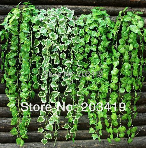 1PCS bouquet 9 twigs Artificial gren leaves vines fake plants for Wedding Party Home Decoration craft DIY hanging whcn+(China (Mainland))