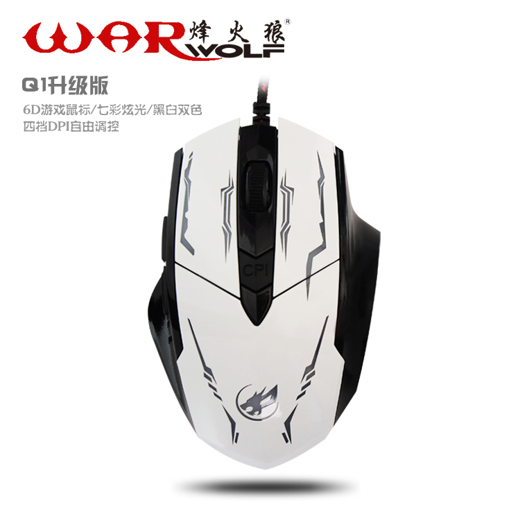 2015 WAR WOLF High Quality 2400 DPI 6D buttons led back light mouse wired gaming mouse USB wired game mouse for laptops desktop(China (Mainland))