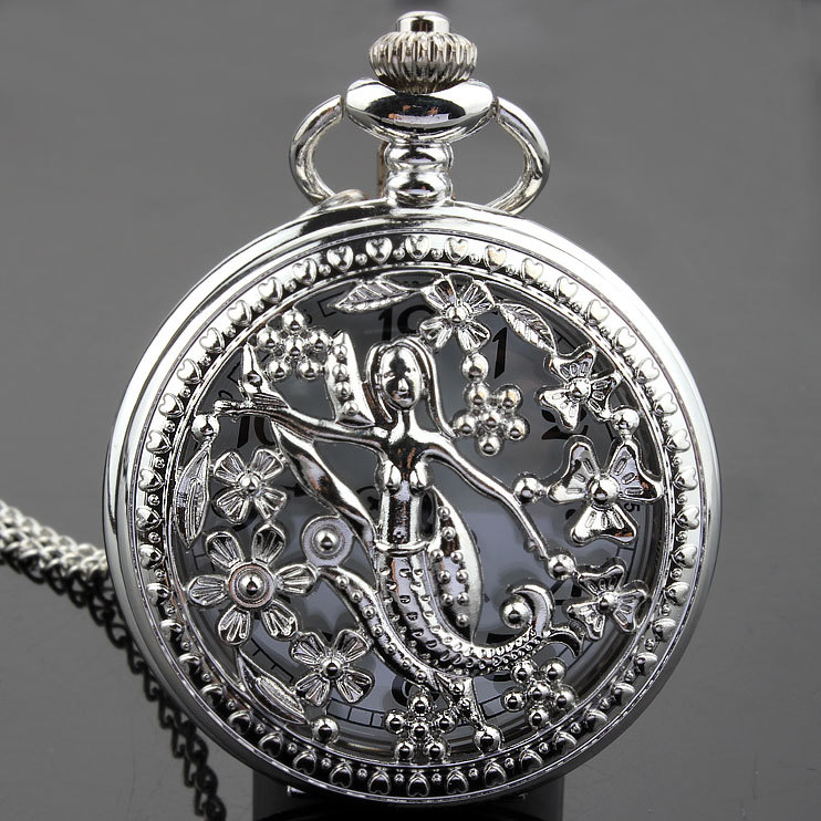 Silver Mermaid Hollw Quartz Pocket Watch Necklace Pendant Women Lady Gifts P273 - SHINNING WATCH Store store