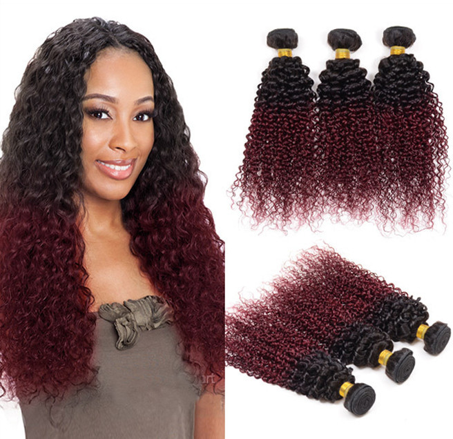 Free Shipping 3pcs Lot Ombre Hair Extensions Kinky Curly Two Tone T1B/99J Indian Virgin Hair Remy Human Hair Weave Bundles