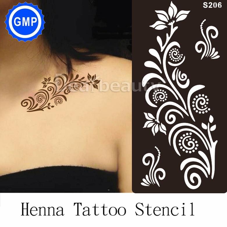1pc Henna Tattoo Stencil For Glitter painting Mehndi Indian Arabic Tatoo Stencils taty hot tattoo templates Kit supplier S206