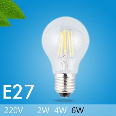 10pcs/lot E27 LED Lamp Lights for Home Use Glass Housing 220V Chip Cree LED Blub 2W 4W 6W Energy Saving LED Filament Bulb(China (Mainland))