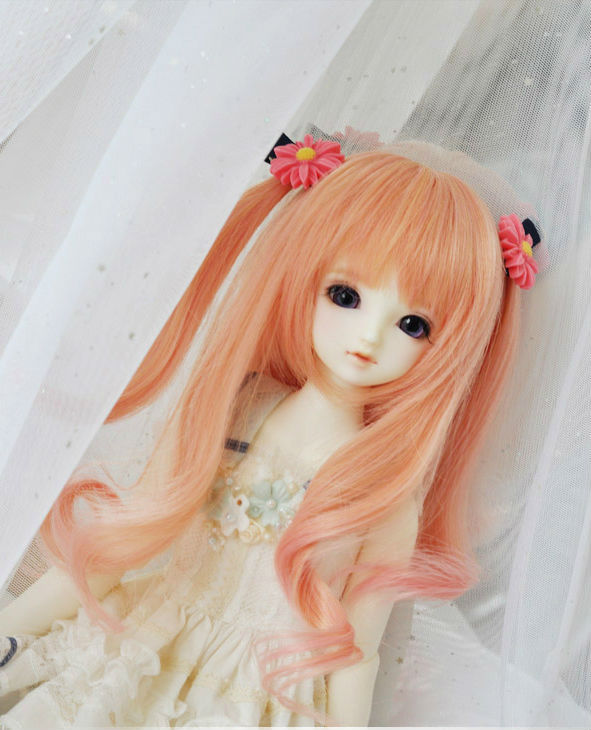 Sweetie Pink long Curly  Wig BJD Doll Wig 1/3(23cm) 1/4(19cm) 1/6  for YOSD MSD SD Luts DOD AS Doll HW3<br><br>Aliexpress