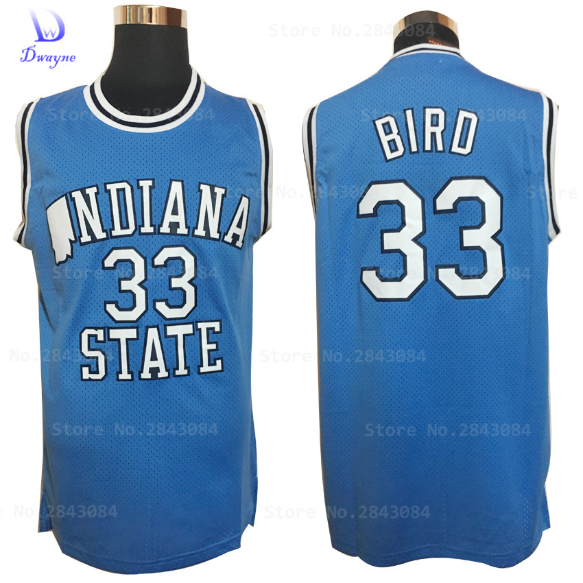 2017 Dwayne Mens College Cheap Basketball Jerseys #33 Larry Bird Jersey Indiana State Sycamores Retro Stitched Basketball Shirt(China (Mainland))