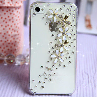 Free Shipping Bulk New Luxury 3D floret Bling Crystal Diamond flower Case Cover For iPhone 5 5G Retail Package Accessory