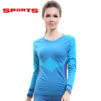 2016 Gym Compression Tights Women's Yoga Sport T-shirts Dry Quick Running Long Sleeve T-shirts Fitness Women Clothes Tees & tops