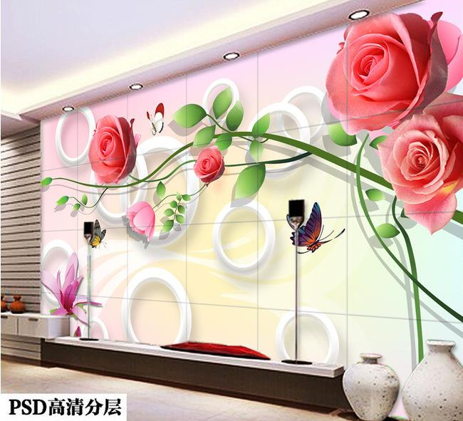 Free shipping 2016 New Non-woven Fresh roses fashion 3 d TV setting wall paint wallpaper(China (Mainland))