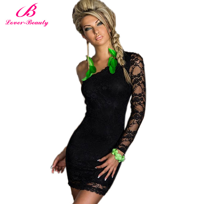 7 Colors Sexy Nightclub Dresses Summer 2015 Sexy Women's Party Evening Lace One Shoulder Mini Dress Plus Size S,M,L,XL,2XL(China (Mainland))