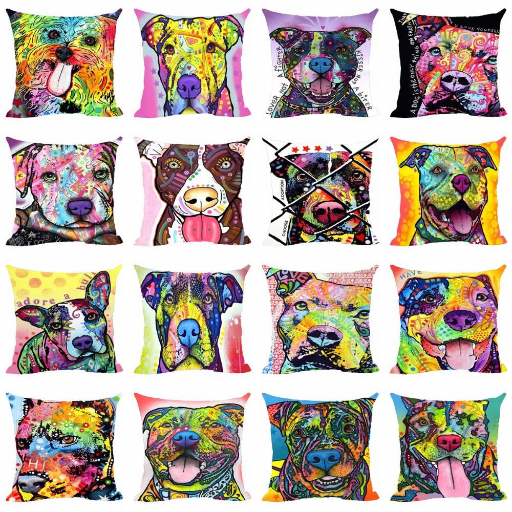 Linen Bulldog Beagle Boxer Basset Hound Cushion Cover Dog Decorative Pillow Case For Car Covers Custom Animal Decor Pillowcase