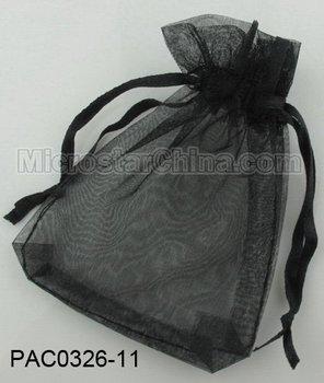 Free shipping 100pcs/lot 10*12cm black jewelry gift organza bag wedding favor pouch 3mm wide ribbon drawstring