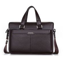 "Brand P.kuone men briefcase genuine leather business bag 14"" leather laptop briefcase shoulder bags men's messenger travel bags(China (Mainland))"