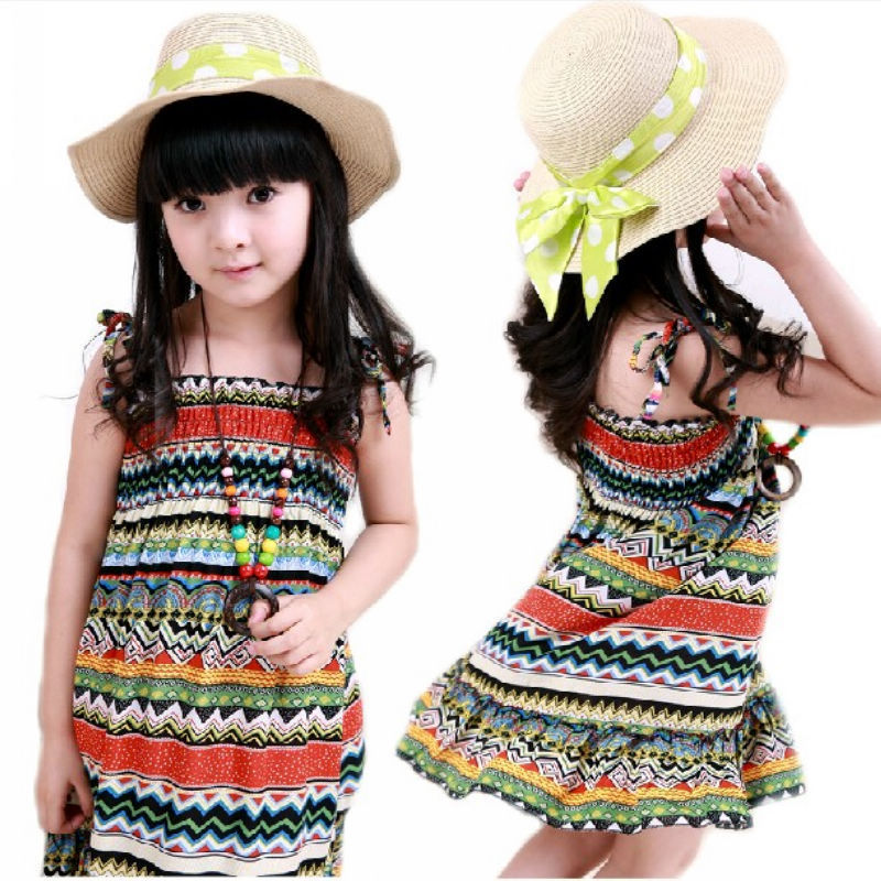 AliExpress.com Product - Children Kids Dresses New Casual A-line Knew-length Sleeveless Print Beading Cotton Summer Girl Dresses For Free Shipping