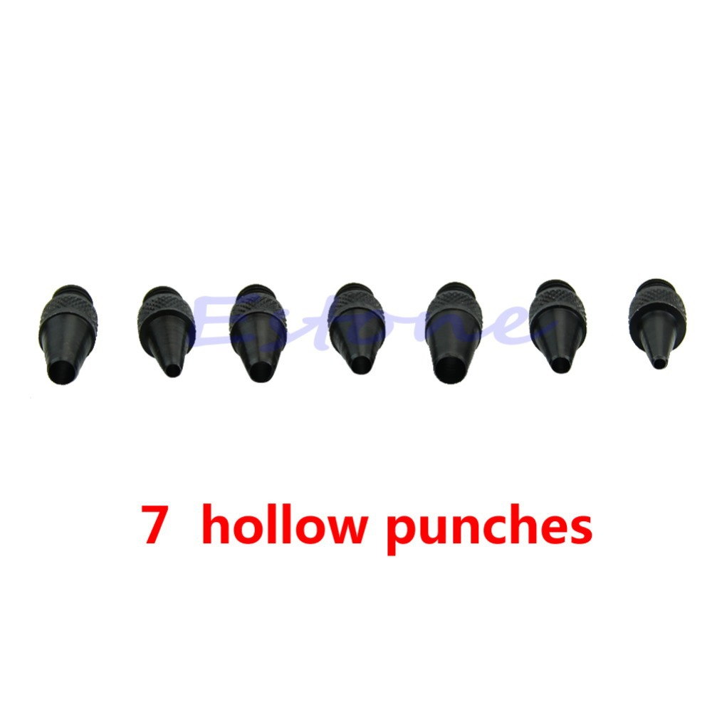 N94 Leather Punch Hollow Hole Interchangeable Super Sharp 7 pc Craft Eyelet Tools