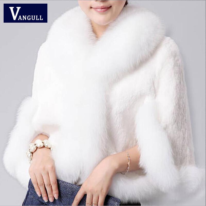 Fur Faux Fur Coat Mink Hair Rex Rabbit Hair Cape Jacket 2015 Black White Fur Overcoat Imitation Rabbit Fur Faux Fox Collar XXXL(China (Mainland))