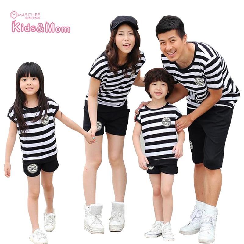 Summer Sport font b Family b font Look Mother Father Baby Daughter Son Clothes Set Stripe