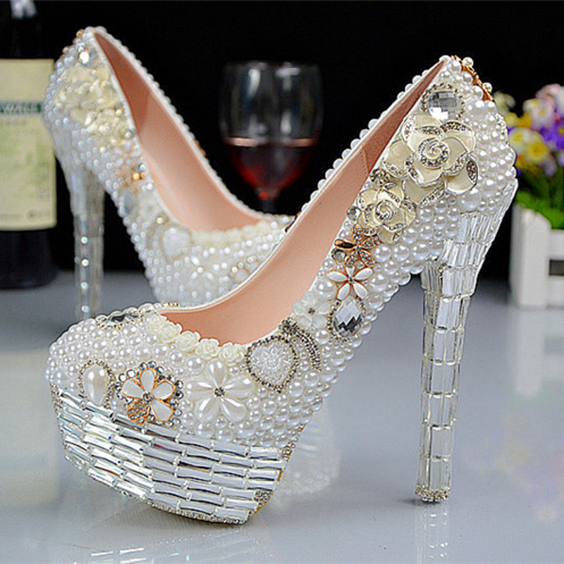 Romantic Pearl Wedding Shoes 2015 High Heels Round Toe Crystal Pearl Rhinestone Bridesmaid Shoes Platform Evening Party Shoes<br><br>Aliexpress
