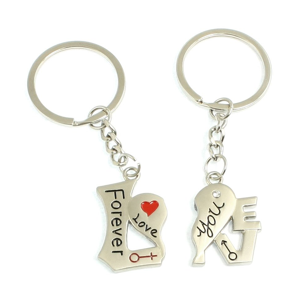 GSFY!Como LOVE YOU FOREVER Heart Shape Key Chain Key Ring for Couples 2 Pcs<br><br>Aliexpress