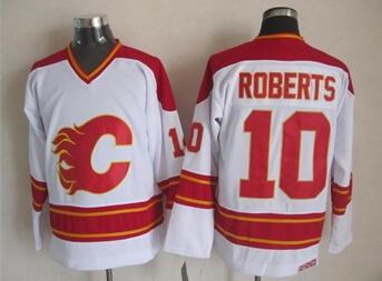 Mens Ice Hockey Jerseys Calgary Flames #10 Gary Roberts White Jersey,Accept Retail And Mixed Orders,100% Embroidery Logos 1307(China (Mainland))