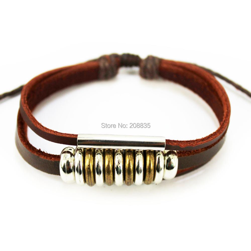 A1070 Fashion Jewelry Wrap pulseira Charm Genuine Leather Bracelet Braided rope Unisex Men - Cangnan Furuida Craft Factory store