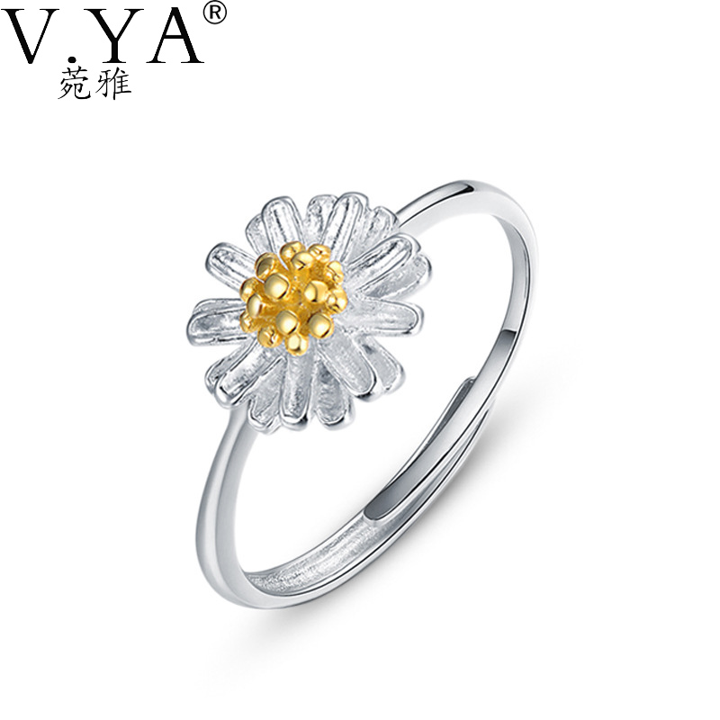 VYA 100% Real Genuine 925 Sterling Silver Ring Chrysanthemum Shape S925 Solid Silver Rings for Women Jewelry CR61(China (Mainland))