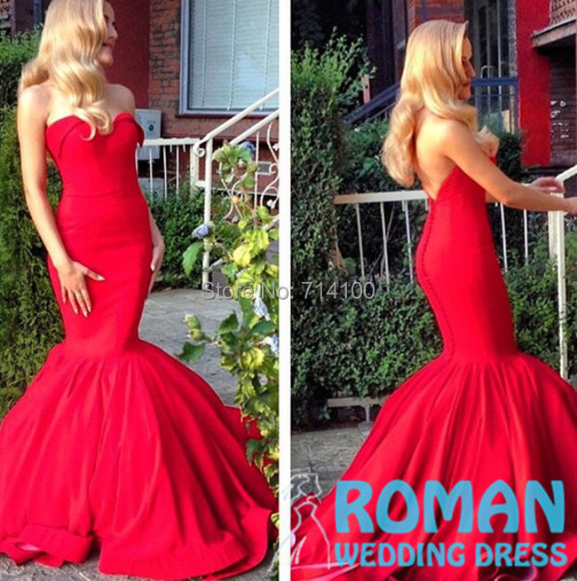 Mermaid Sweetheart Shoulder Train Pleat Backless Buttons Covered Half Good Shape Amazing Red Satin 2015 Evening Dresses - Sheepherder Store store