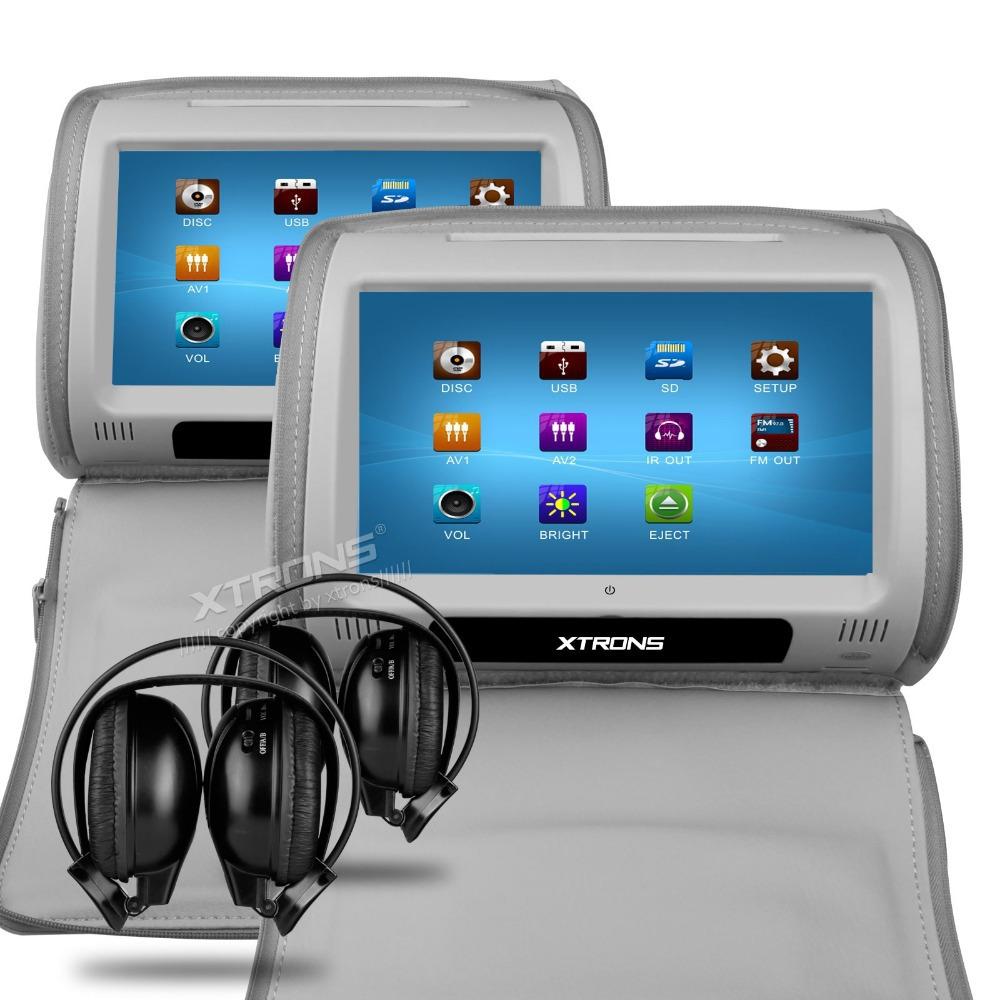 2x grey car headrest dvd player 9 touch screen usb game ir headset with 2 ir jpg