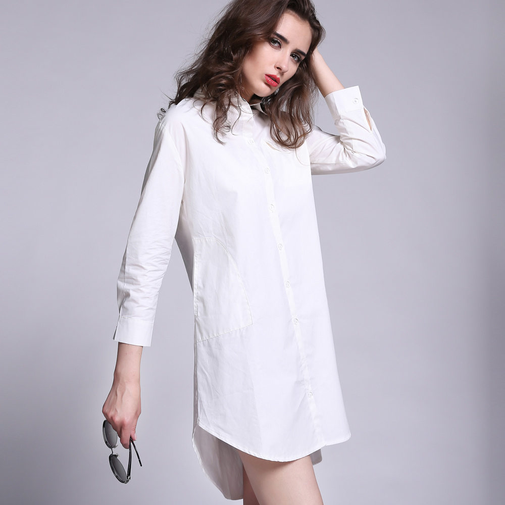 White long shirt womens artee shirt Women s long sleeve shirt dress