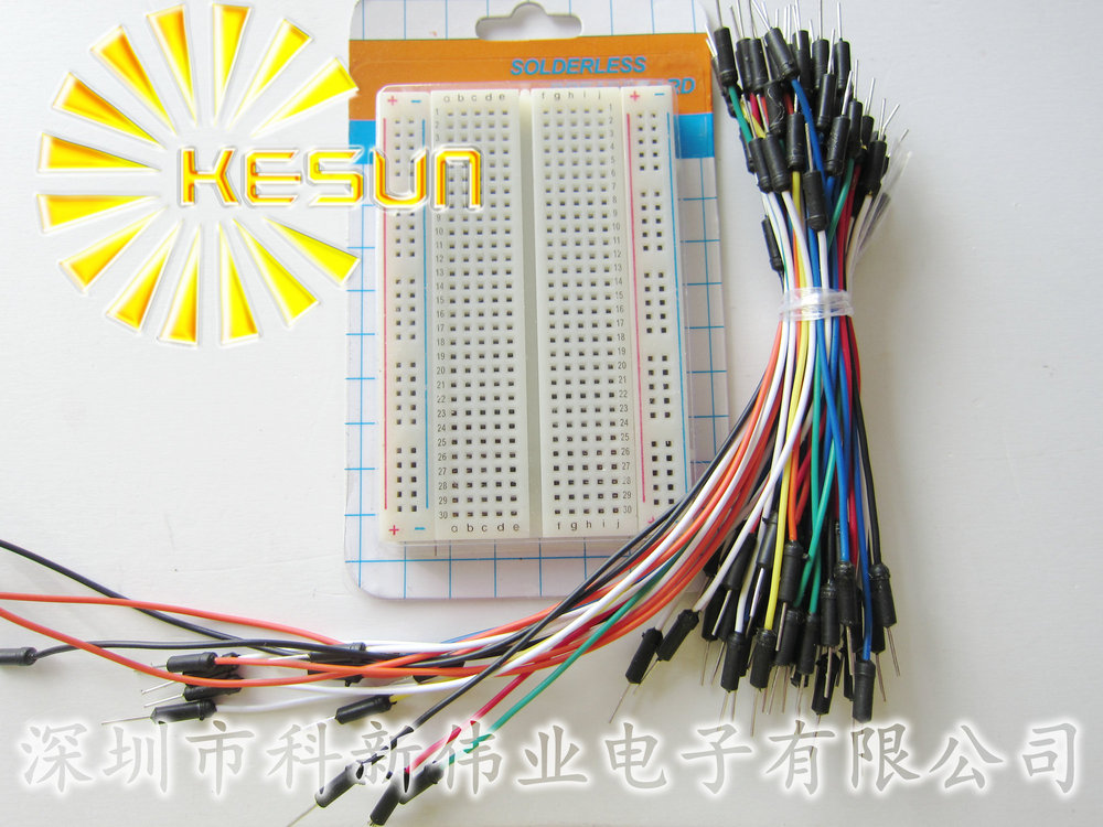 FREE SHIPPING Mini Solderless Breadboard 83x55mm + Jump Wires 65pcs Project Bread Board Jumpwires(China (Mainland))