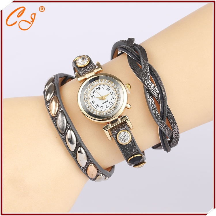 Retro inlaid stone three coil winding female table With drill cortex chain bracelet with tables(China (Mainland))
