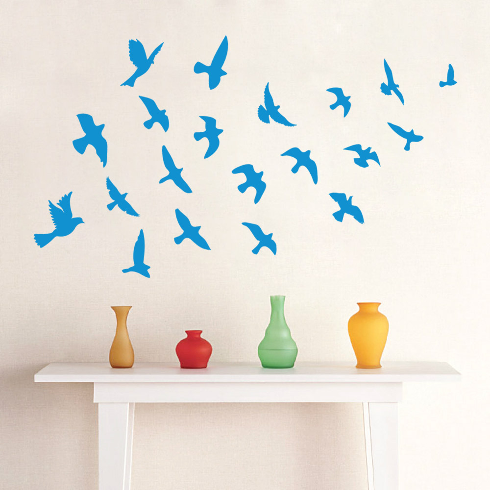 Removeable PVC DIY Blue sea gull Wall Sticker Home Decor Decal mural kids Bedroom interior Decor sticker furniture(China (Mainland))