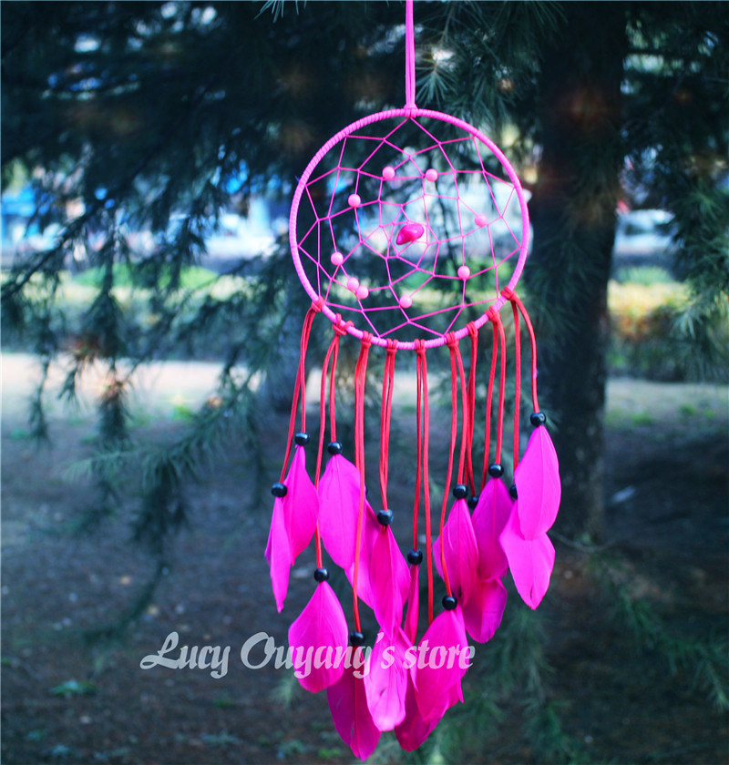 Artistic 2015 New fashion gift big Hot rose red Dreamcatcher Wind Chimes Indian Style Feather Pendant Dream Catcher Gift(China (Mainland))