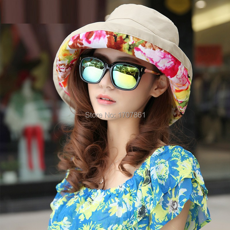free shiping sun hats female collapsible sun beach hat super large brimmed sun hats outdoors visors summer cap for women(China (Mainland))