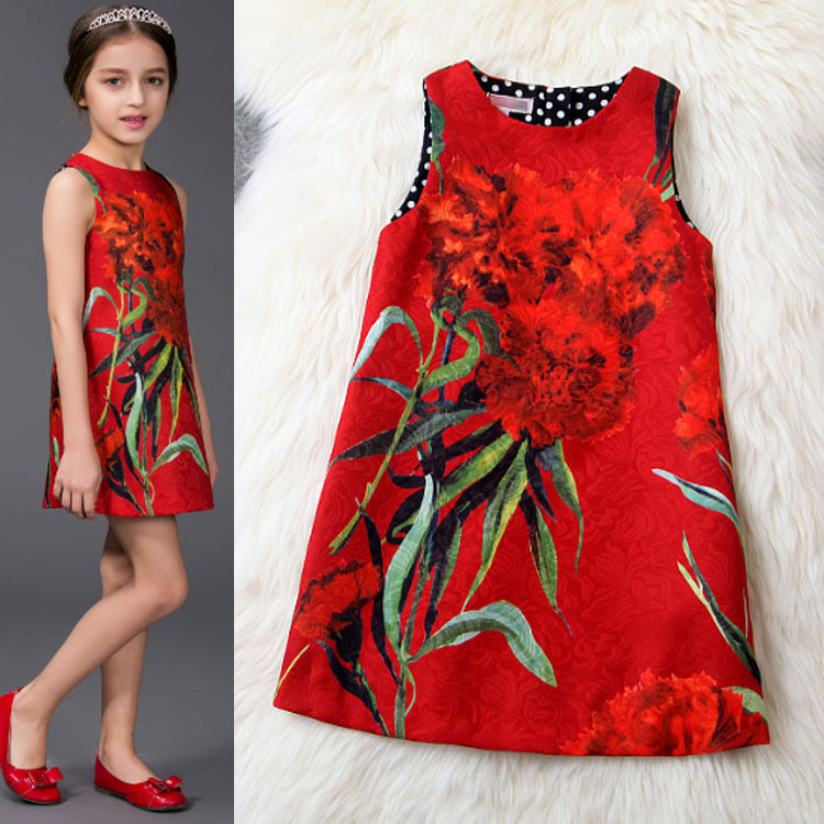 2015 spring summer children dresses girls princess Europe Style elegant jacquard printed Red Sleeveless A-Line Dress - Shenzhen IXUANR CO.,LTD store