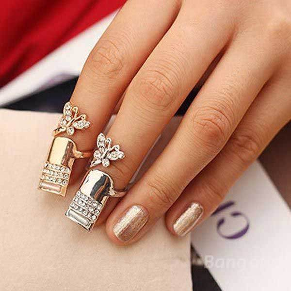 Cabotdeal Alloy Polishing Crystal Butterfly Finger Nail Ring Silver Gold(China (Mainland))