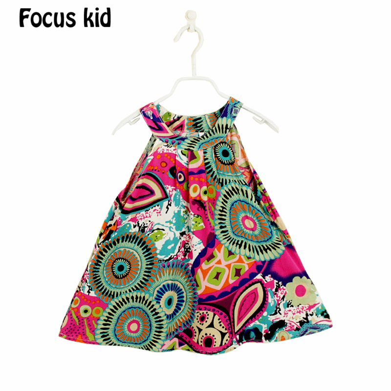 Hot Sale! 2015 New Girl Dress Summer Fashion Printed Dress Baby Girls Dress Cotton Children's Clothing dresses girls 2-7Y Q02(China (Mainland))