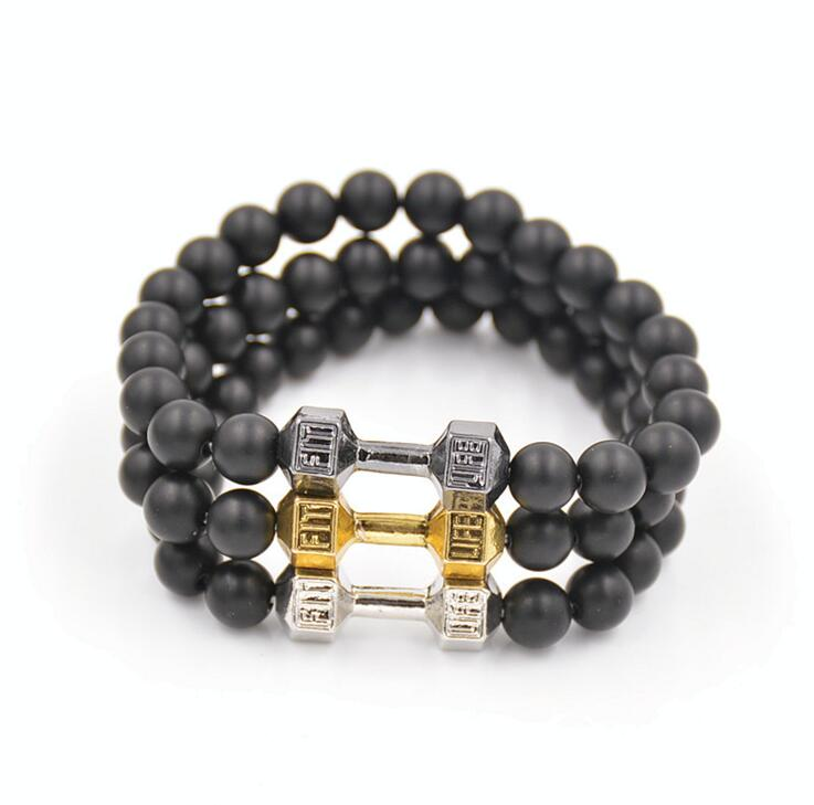 Hot Sale New Arrival Alloy Metal Barbell Jewelry, 8mm Black Matte Agate Stone Beads Fitness Fashion Fit Life Dumbbell Bracelets(China (Mainland))