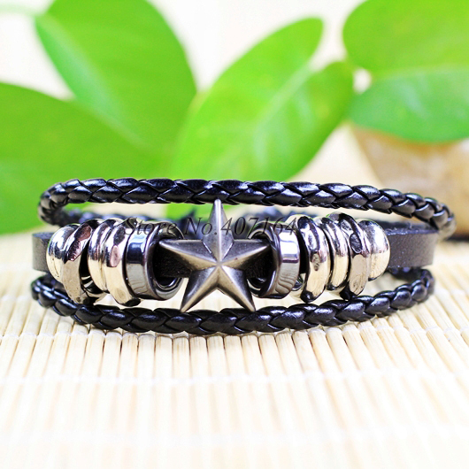 CB4- handmade rock star style ethnic tribal zinc alloy black leather bracelets unisex - SunFlower Trade Co.,Ltd store