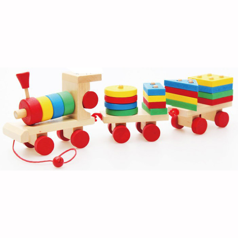Гаджет  Montessori Toys Wooden Stacking Shape Geometry Blocks Train Diecasts Vehiclec Set Combination Educational Toys Kids None Игрушки и Хобби