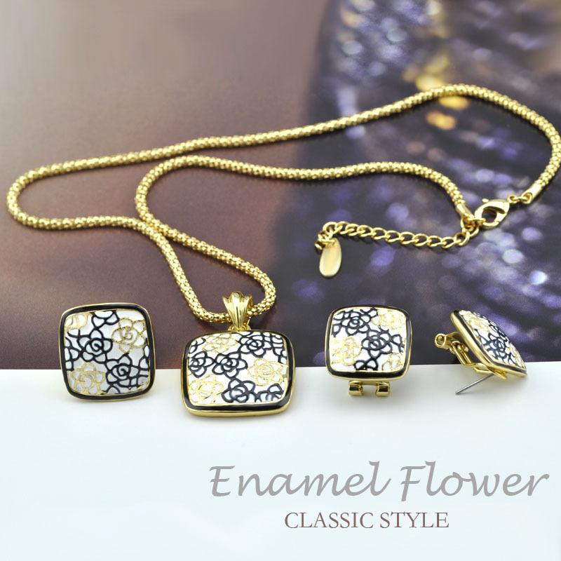Joias Gold Ouro18k Bijuterias Enamel Esmalte Rose Vintage Jewelry Sets Necklaces Collar Brincos Anel From India Short Feminino