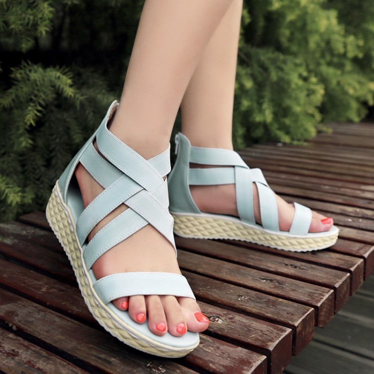 Flats Open The Toe Ankle Wrap Women Summer Sexy Ankle Boots 2015 New Arival Fashion Casual Plus Size Shoes 34-43 SXQ0505(China (Mainland))