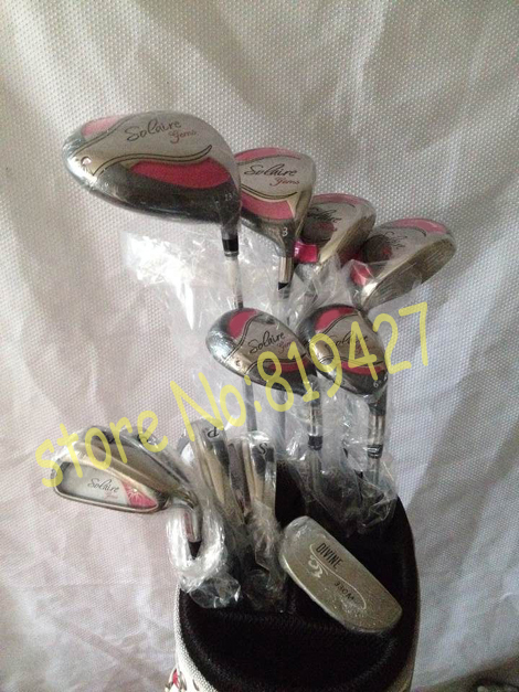 12pc Lady Full golf clubs SOLAIRE GEMS driver + fairway woods 3# 5# 7#+ SOLAIRE hybird 5# 6#+ SOLAIRE irons 789PS putter bag(China (Mainland))